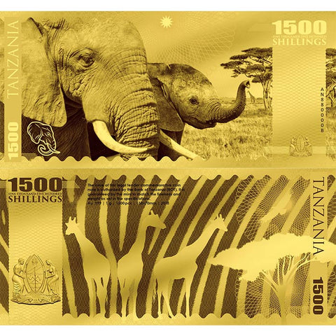 2018 Tanzania 1 Gram Big 5 Elephant 1500 Shillings Minted Gold Bank Note