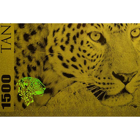 2018 Tanzania 1 Gram Big 5 Leopard 1500 Shillings Minted Gold Bank Note