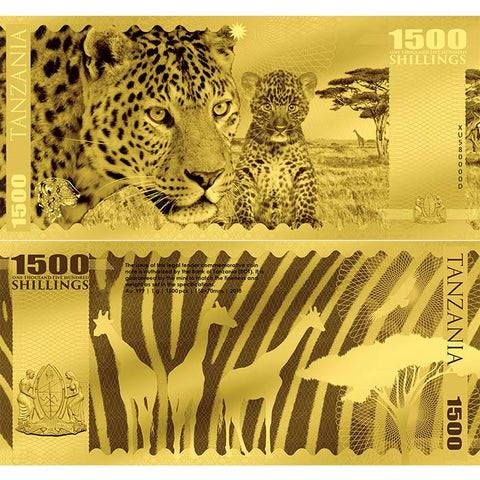 2018 Tanzania 1 Gram African Big 5 Leopard Minted 24K Gold Bank Note