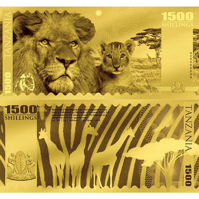 2018 Tanzania 1 Gram African Big 5 Lion Minted 24K Gold Bank Note