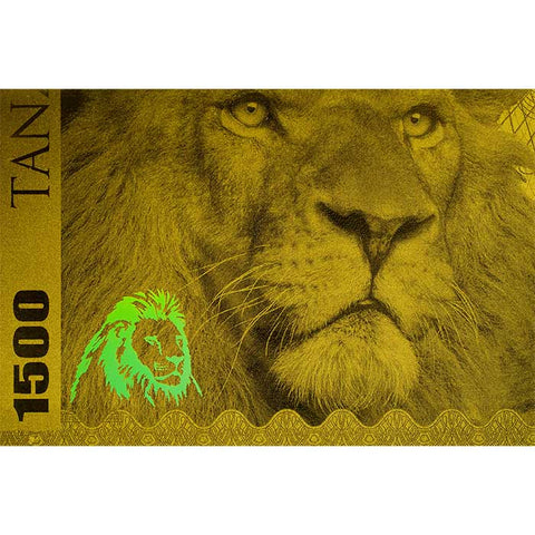 2018 Tanzania 1 Gram Big 5 Lion 1500 Shillings Minted Gold Bank Note