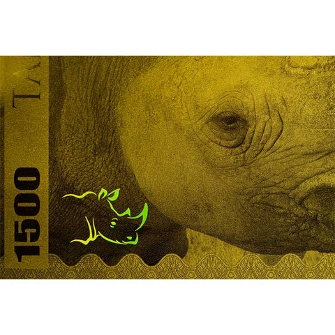 2018 Tanzania 1 Gram Big 5 Rhino 1500 Shillings Minted Gold Bank Note