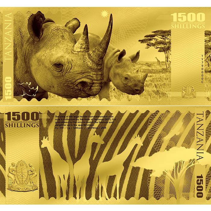 2018 Tanzania 1 Gram African Big 5 Rhino Minted 24K Gold Bank Note