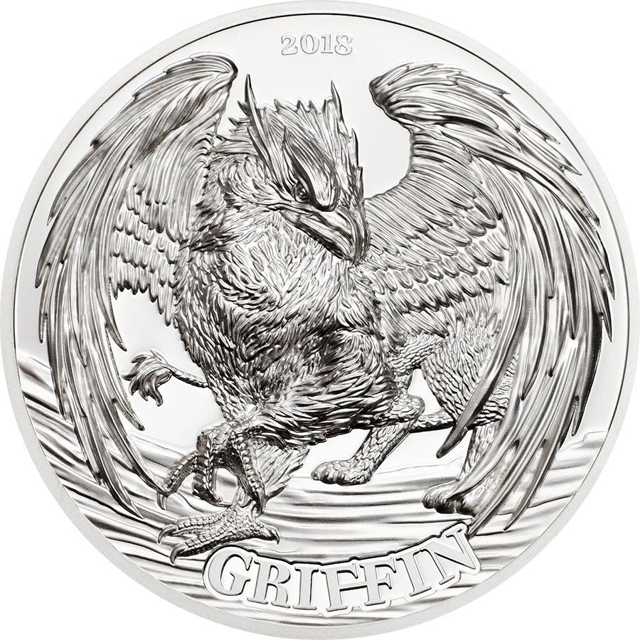 2018 Tanzania 2 Ounce Mythological Animals Griffin Ultra High Relief Silver Proof Coin