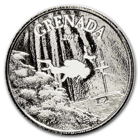 2018 Grenada 1 Ounce Diving Paradise EC8 Proof-Like Silver Coin