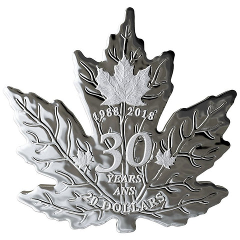 2018 Canada 1 Ounce 30th Anniversary Maple Leaf Shaped Silver Proof Coin