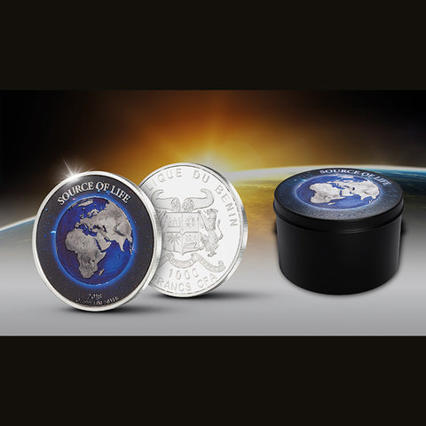 2018 Benin 1 Ounce Source of Life Earth Colored and Platinum Plated Silver Coin