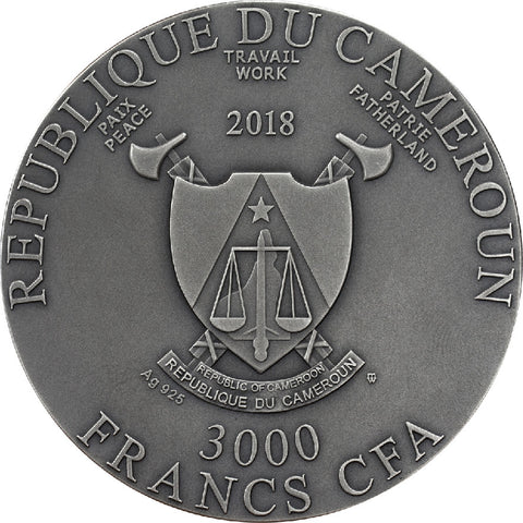 2018 Cameroon 3 Ounce Lunar Year of the Dog UV High Relief Antique Finish Silver Coin Obv - Art in Coins