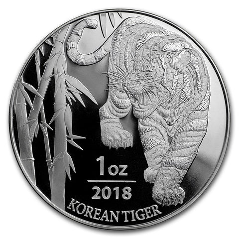 2018 Korea 1 Ounce Korean Tiger .999 Silver Round