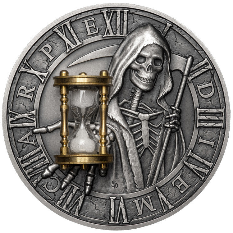 2018 Niue 2 Ounce Carpe Diem Grim Reaper Sand Hourglas Antique Finish Silver Coin