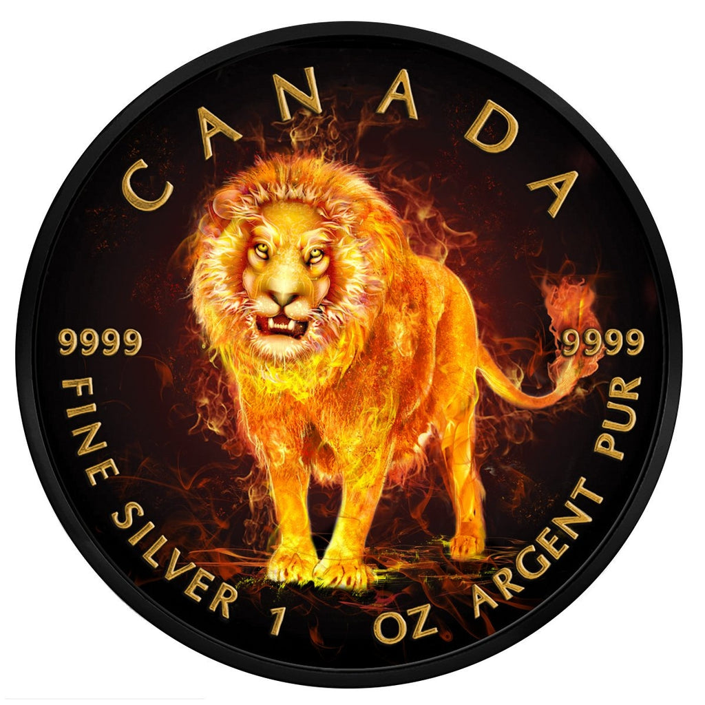 2018 Burning Animals Lion Silver Coin