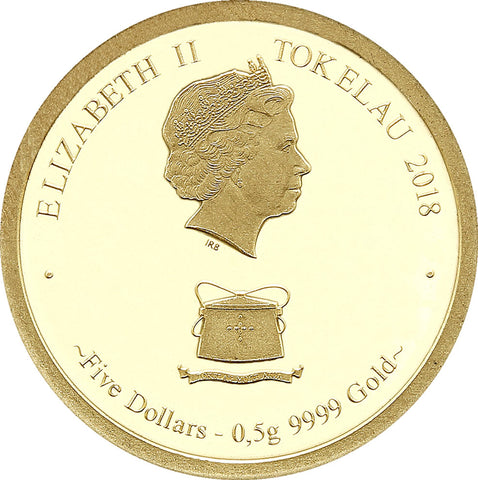 2018 Tokelau 1/2 Gram Year of the Dog .9999 Gold Proof Coin Obv - Art in Coins