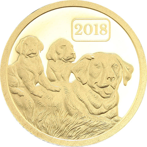 2018 Tokelau 1/2 Gram Year of the Dog .9999 Gold Proof Coin - Art in Coins