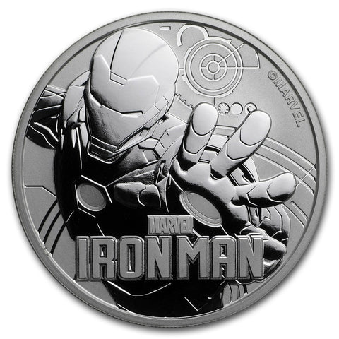 2018 Tuvalu 1 Ounce Marvel Series Iron Man .9999 Silver Coin