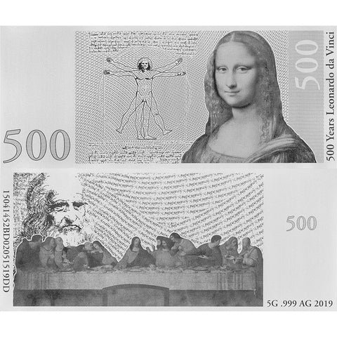 500th Anniversary of the death of Leonardo da Vinci .999 Silver Note