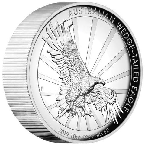 2019 Australia 10 Ounce Wedge Tailed Eagle High Relief .9999 Silver Proof Coin