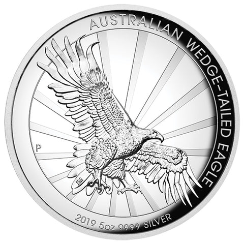 2019 5 Ounce Wedge Tailed Eagle High Relief .9999 Silver Proof Coin
