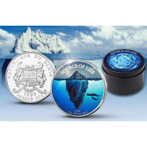 2019 Benin 1 Ounce Source of Life Water Colored and White Rhodium Plated Silver Coin