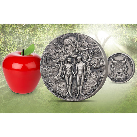 2019 Benin 5 Ounce Garden of Eden Adam & Eve High Relief Antique Finish Silver Coin