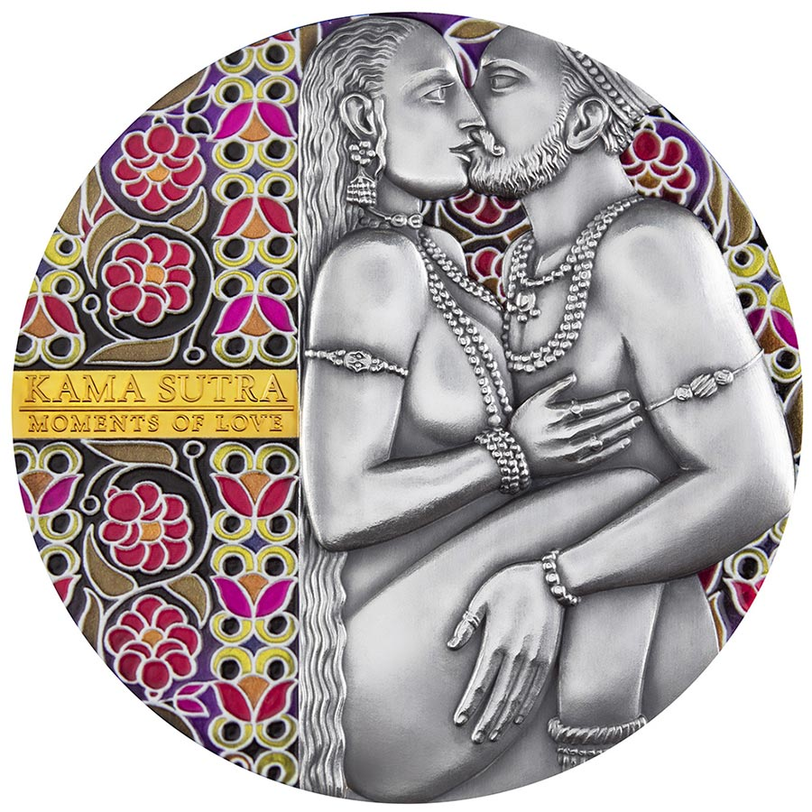 2019 Cameroon 3 Ounce Kama Sutra Moments of Love High Relief Antique Finish Silver Coin