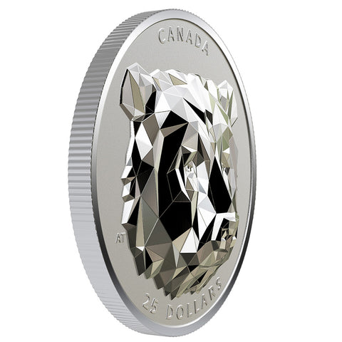 Multifaceted Animal Head Grizzly Bear Silver Coin