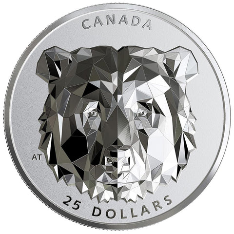 2019 Canada 1 Ounce Multifaceted Animal Head Grizzly Bear EHR Silver Proof Coin