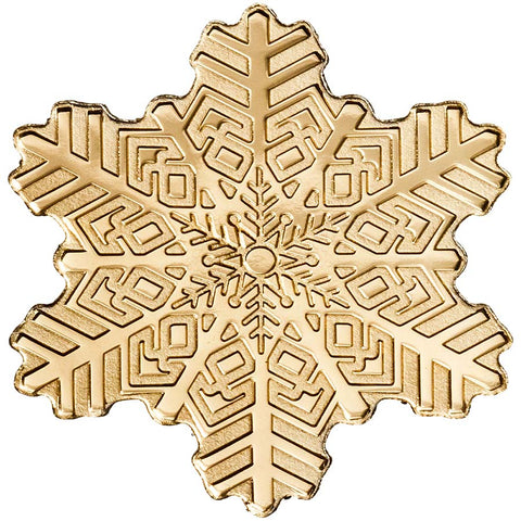 2019 Cook Islands .5 Gram Golden Snowflake Shaped .9999 Silk Finish Gold Coin