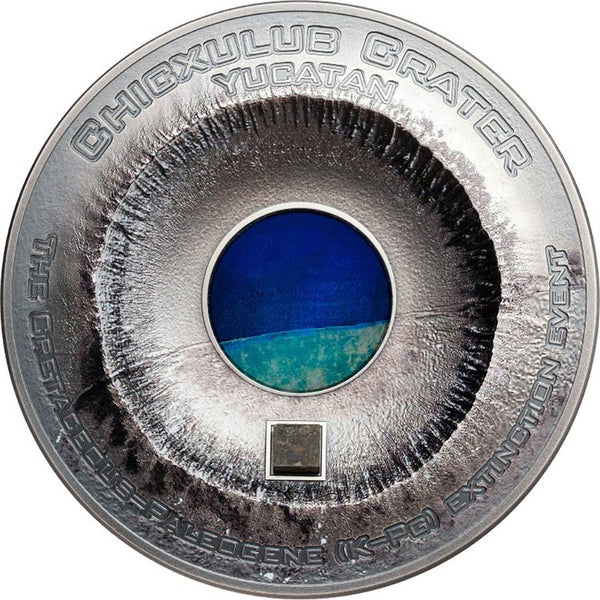 2019 COOK ISLANDS 3 OUNCE CHICXULUB CRATER METEORITE HIGH RELIEF .999 SILVER COIN