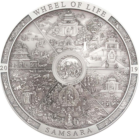 2019 Cook Islands 3 Ounce Samsara Wheel of Life Silver Coin