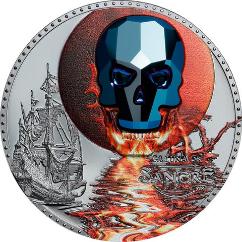 2019 Equatorial Guinea 1 Ounce Crystal Skull La Luna de Sangre (Blood Moon) Black Proof Silver Coin