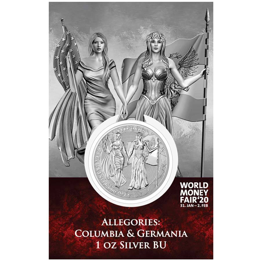 World Money Fair Edition Allegories Columbia & Germania Silver Round