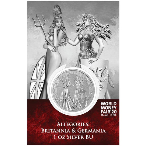 2019 1 Ounce Allegories - Britannia & Germania Silver Round World Money Fair Edition