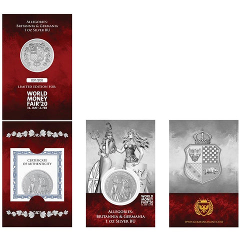 2019 1 Ounce Allegories - Britannia & Germania .9999 Silver Round World Money Fair Edition