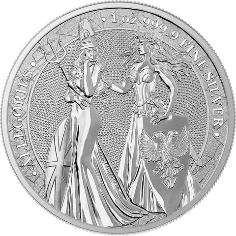 2019 1 Ounce 5 Marks Allegories - Britannia & Germania Silver Round World Money Fair