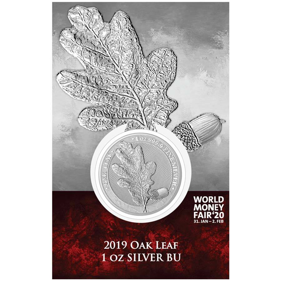 2019 World Money Fair 2020 Oak Leaf 5 Marks .9999 Silver Round