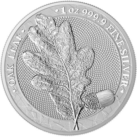 2019 Germania Mint 1 Ounce WMF 2020 Oak Leaf 5 Marks .9999 Silver Round