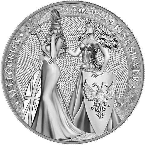 2019 Germania Mint 5 Ounce Allegories Germania Britannia 25 Marks .999 Silver Round