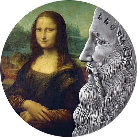 2019 Ghana 2 Ounce Leonardo da Vinci World's Greatest Artists Colored Silver Coin