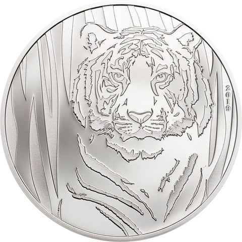 2019 Mongolia 1/2 Ounce Hidden Tiger 250 Togrog .999 Silver Proof Coin