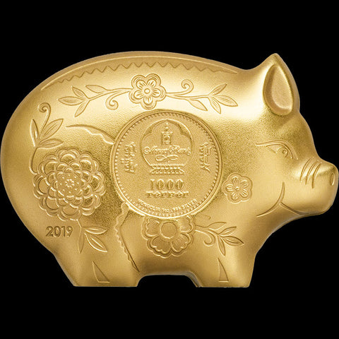 2019 Gilded Jolly Pig Silver Coin