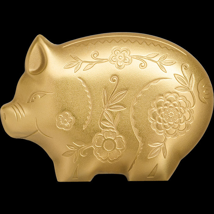 2019 Mongolia 1 Ounce Lunar Year Collection Gilded Jolly Pig Sculptured .999 Silver Coin