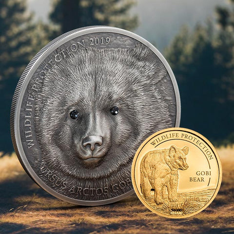 2019 Mongolia 1 Ounce Wildlife Protection Gobi Bear Ursus Arctos Gobiensis High Relief .999 Silver Coin