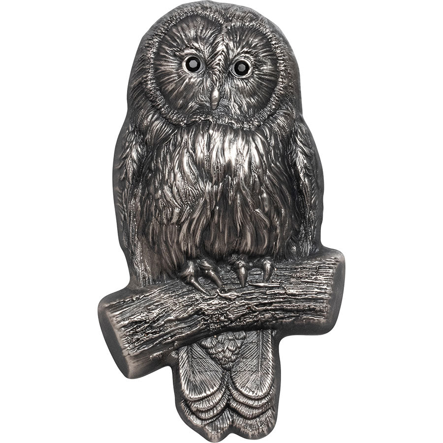 2019 Mongolia 2 Ounce Ural Owl Mongolian Wildlife 3D Ultra High Relief .999 Silver Coin