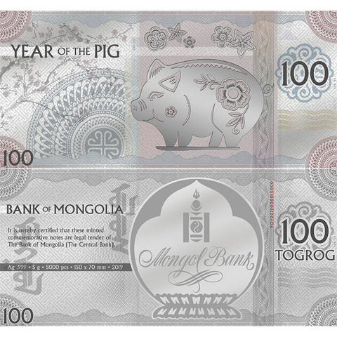 2019 Mongolia 5 Gram Year of the Pig 100 Togrog Minted Silver Bank Note