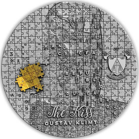 2020 Cameroon Gustav Klimt The Kiss Puzzle Art Silver Coin
