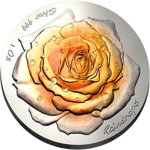 2019 Niue 1 Ounce Raindrops The Rose Satin Finish High Relief Silver Coin