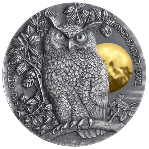 2019 Niue 2 Ounce Asio Otus Long Eared Owl High Relief Antique Finish Silver Coin