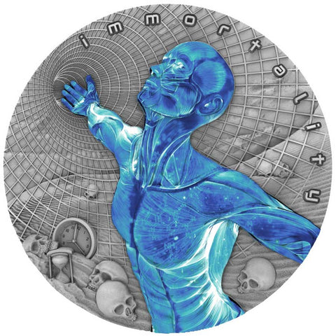 2019 Niue 2 Ounce Code of the Future Immortality Ultraviolet Silver Coin