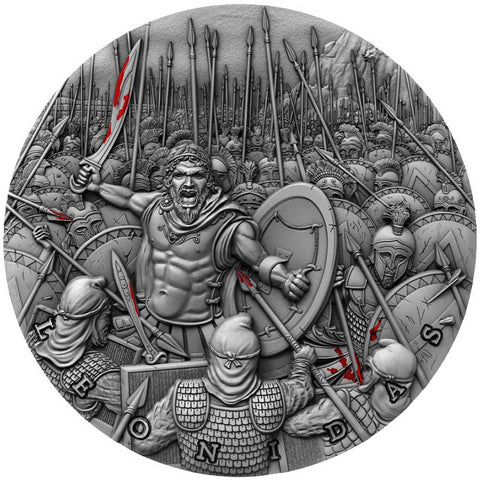 2019 Niue 2 Ounce Great Commanders Leonidas High Relief Silver Coin