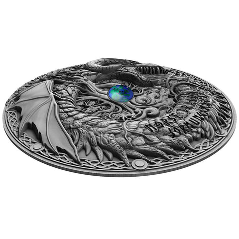 2019 Niue 2 Ounce Norse Dragon Jormungandr High Relief Antique Finish .999 Silver Coin